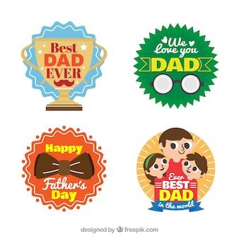Pacote de quatro adesivos coloridos para o dia dos pais