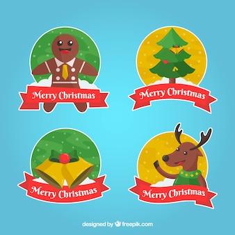 Pacote de quatro adesivos de elementos de Natal e bons personagens