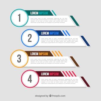 Pacote de quatro banners infográficos com elementos de cor