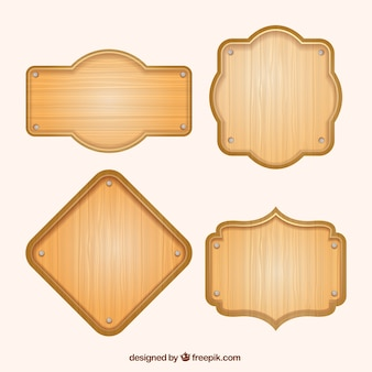 Pacote de quatro cartazes de madeira em design plano