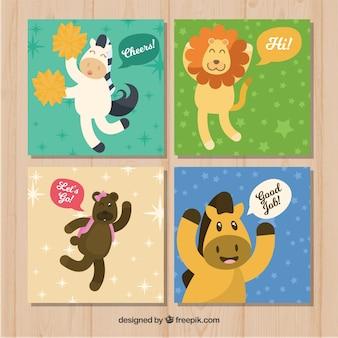 Pacote de quatro cartões animais engraçados