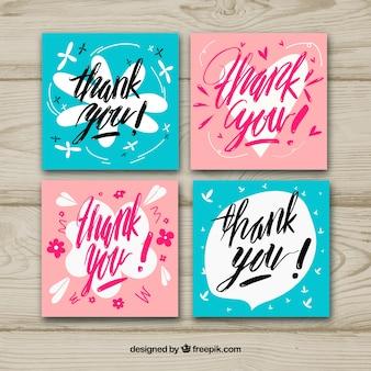 Pacote de quatro cartões de agradecimento retro