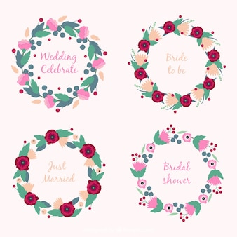 Pacote de quatro de casamento rodada quadros com flores bonitos