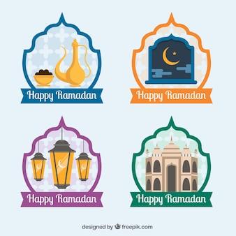 Pacote de quatro etiquetas felizes do ramadan