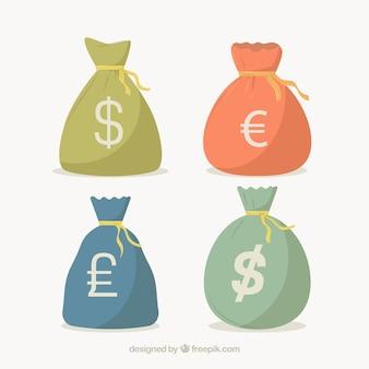 Pacote de sacos de dinheiro com símbolos de moeda