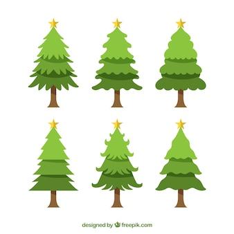 Pacote de seis árvores de natal