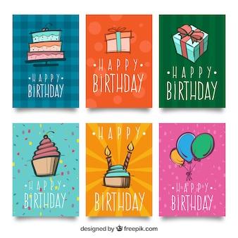 Pacote de seis cartões de aniversário com desenhos