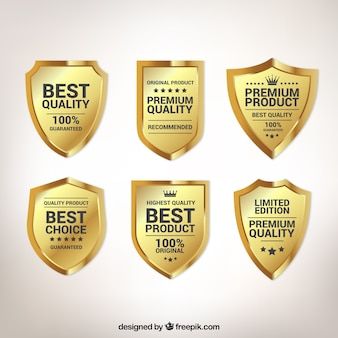 Pacote de seis escudos de qualidade de ouro