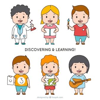 Pacote de seis estudantes felizes descobrindo e aprendendo