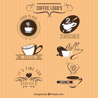 Pacote de seis logotipos para um café