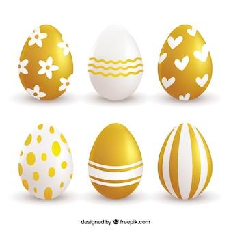 Pacote de seis ovos de páscoa de ouro