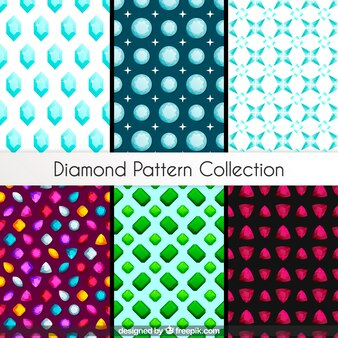 Pacote de seis padrões com pedras preciosas
