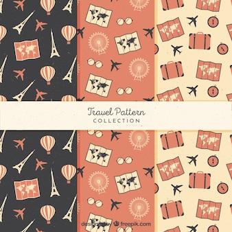 Pacote de seis padrões de viagens vintage