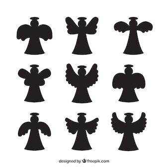 Pacote de silhuetas anjo