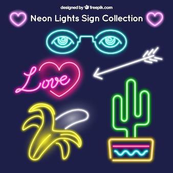 Pacote de sinais de néon variados
