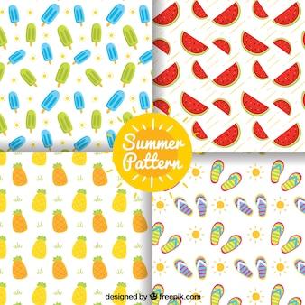 Pacote de sorvete e outros elementos de verão