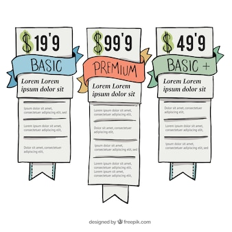 Pacote de tabelas de preços desenhadas a mão