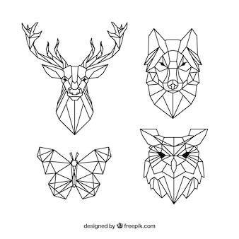 Pacote de tatuagens de animais poligonais