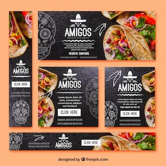 Pacote de tipos de bandeiras de comida mexicana