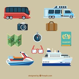 Pacote de transporte e outros acessórios de viagem