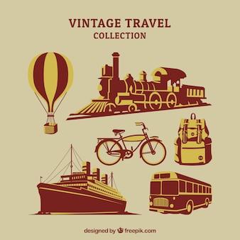 Pacote de transportes e outros elementos de viagem em estilo retro