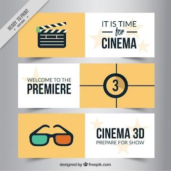 Pacote de três bandeiras cinema no design plano