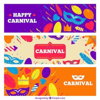 Pacote de três bandeiras coloridas com elementos de carnaval