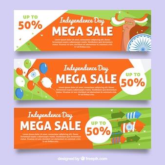 Pacote de três banners abstratos do dia da independência da india de vendas