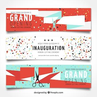Pacote de três banners de abertura com fita e confete