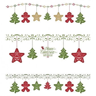 Pacote de três guirlandas com artigos do Natal