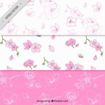 Pacote de três padrões de flor de cerejeira decorativas
