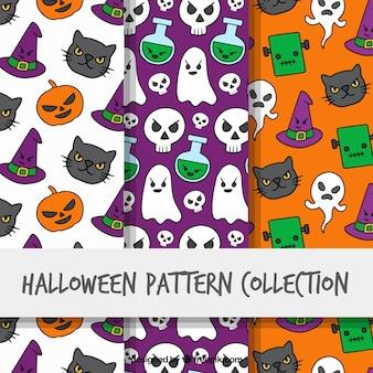 Pacote de três padrões de Halloween