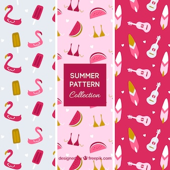 Pacote de três padrões de verão rosa