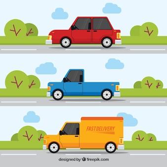 Pacote de três transportes na estrada