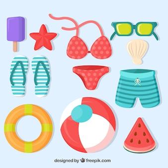 Pacote de verão de itens coloridos em design plano