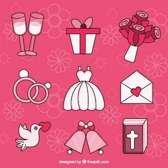 Pacote, decorativo, casamento, objetos
