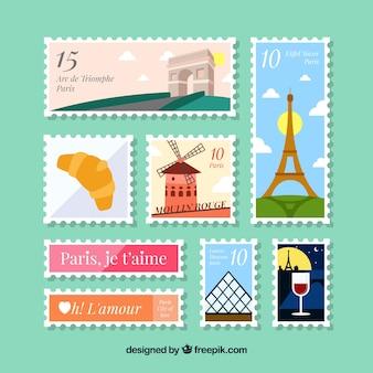 Pacote, decorativo, poste, selos
