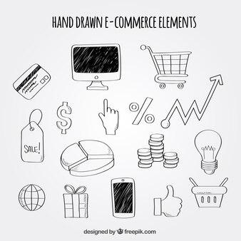 Pacote desenhado à mão de elementos de comércio eletrônico