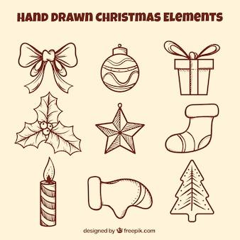 Pacote desenhado à mão de enfeites de natal