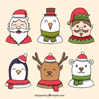 Pacote desenhado à mão de personagens de Natal