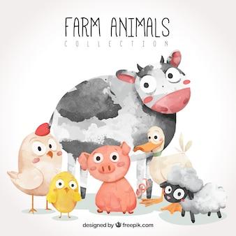 Pacote divertido de animais de fazenda aquarela