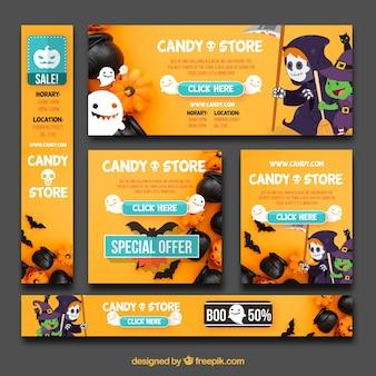 Pacote divertido de banners de Halloween