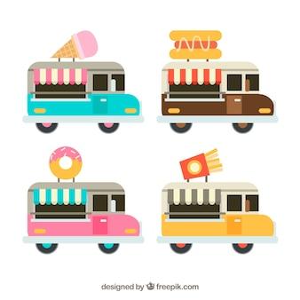 Pacote divertido de caminhões de alimentos coloridos