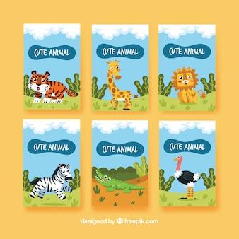 Pacote divertido de cartas com animais na natureza