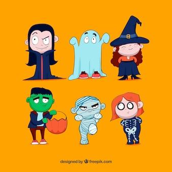 Pacote divertido de trajes desenhados a mão de Halloween