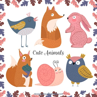 Pacote encantador de animais bonitos