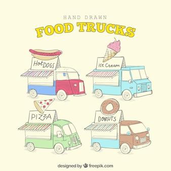 Pacote encantador de caminhões de comida desenhados a mão