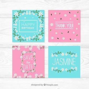 Pacote encantador de cartões coloridos de jasmim