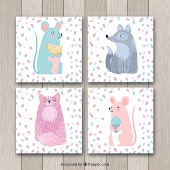 Pacote encantador de cartões com animais bonitos