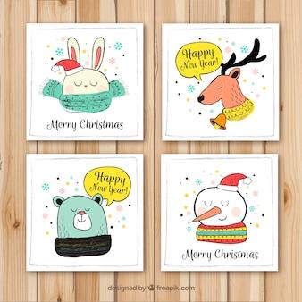 Pacote encantador de cartões de natal